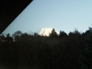 ヴィラ本栖のお風呂から見える富士山