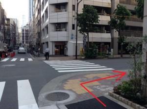 銀座さとう 教室から昭和通りまでの右折ポイント